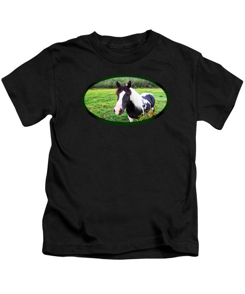 Black And White Horse-natural Setting Kids T-Shirt