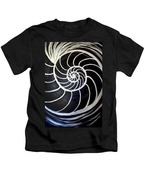 Black And White Nautilus Spiral Kids T-Shirt