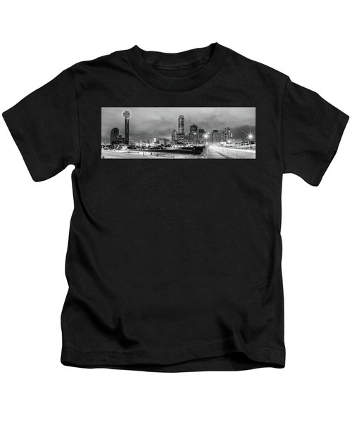Black And White Panorama Of Downtown Dallas Skyline From South Houston Street - Dallas North Texas Kids T-Shirt