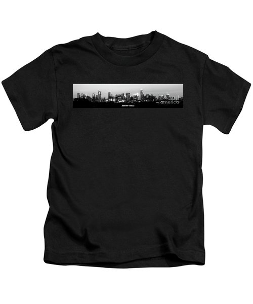 Black And White Panoramic View Of Downtown Austin Kids T-Shirt