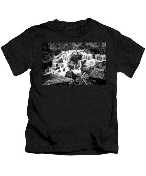Black And White Waterfall In Lee Vining Canyon Kids T-Shirt