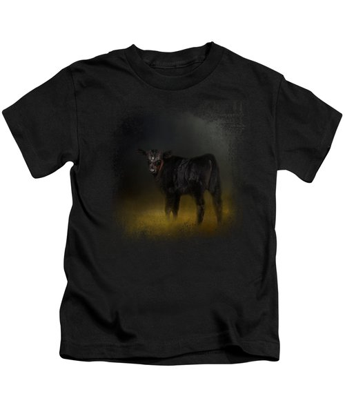 Black Angus Calf In The Moonlight Kids T-Shirt