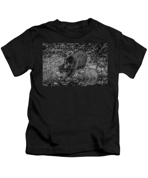 Black Bear Salmon Seeker Kids T-Shirt