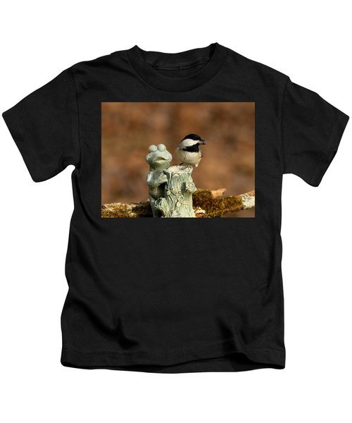 Black-capped Chickadee And Frog Kids T-Shirt