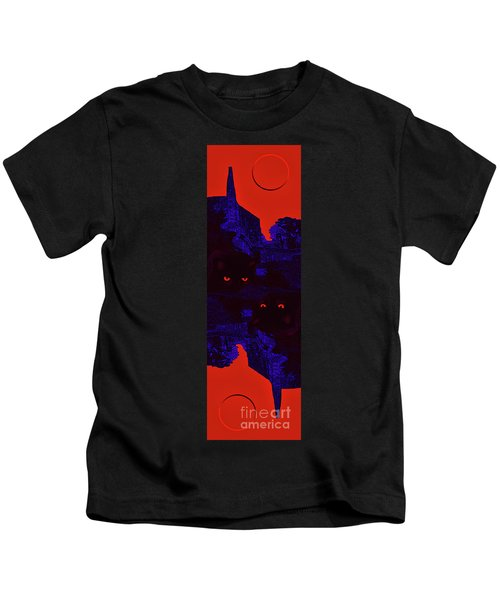Black Cat Under A Blood Red Moon Kids T-Shirt