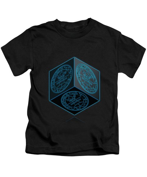 Black Cube With Six Seals Of Solomon  Kids T-Shirt