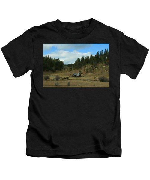 Black Hills Broken Down Cabin Kids T-Shirt