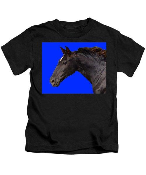 Black Horse Spirit Blue Kids T-Shirt