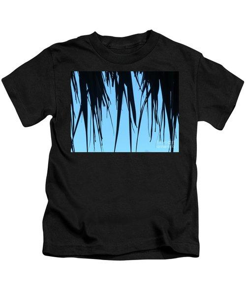 Black Palms On Blue Sky Kids T-Shirt