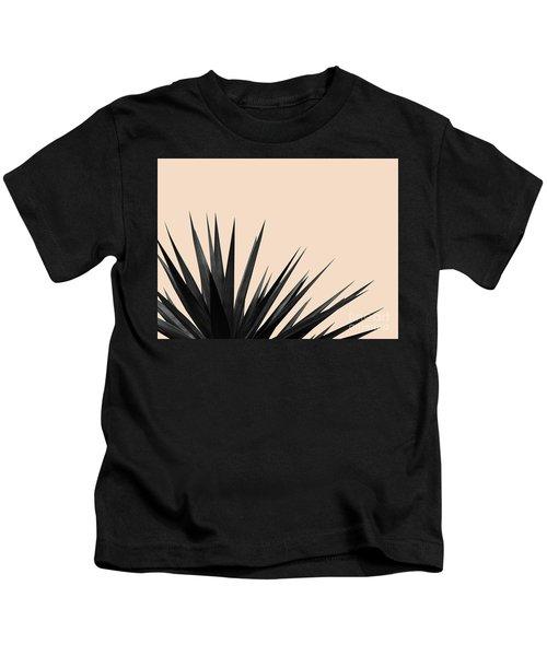 Black Palms On Pale Pink Kids T-Shirt