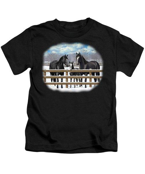 Black Quarter Horses In Snow Kids T-Shirt