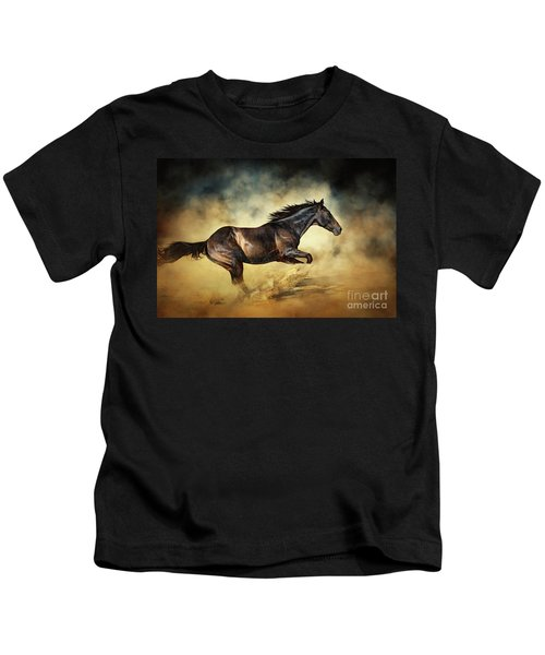 Black Stallion Horse Galloping Like A Devil Kids T-Shirt