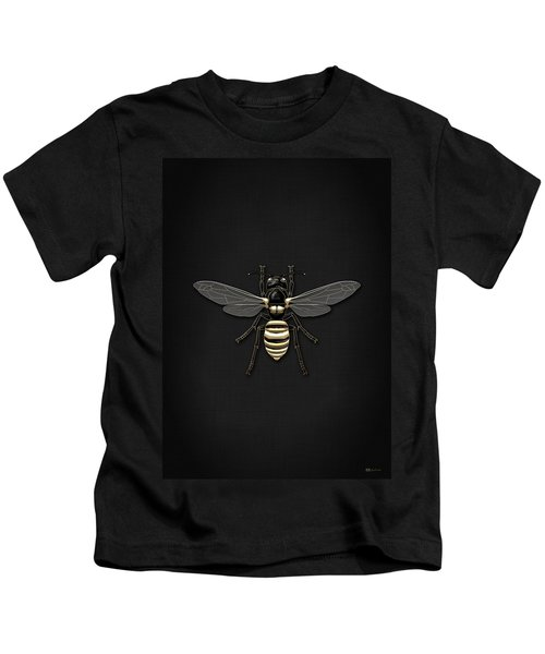 Black Wasp With Gold Accents On Black  Kids T-Shirt