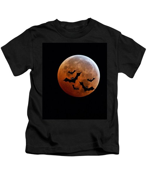 Blood Full Moon And Bats Kids T-Shirt