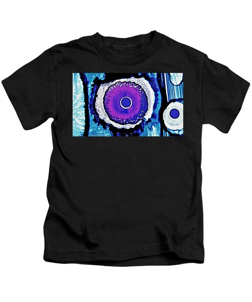 Blue Black Purple Nucleus Abstract #2 Alcohol Inks  Kids T-Shirt