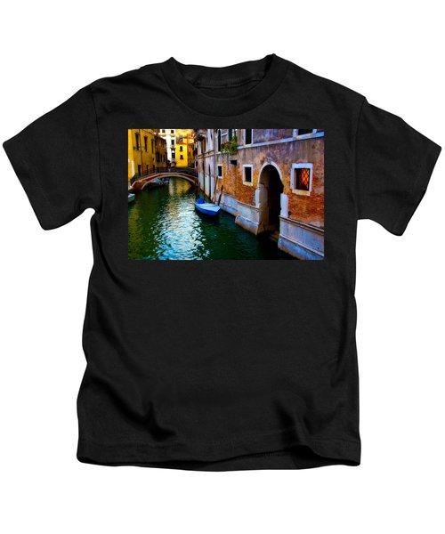 Blue Boat At Twilight Kids T-Shirt