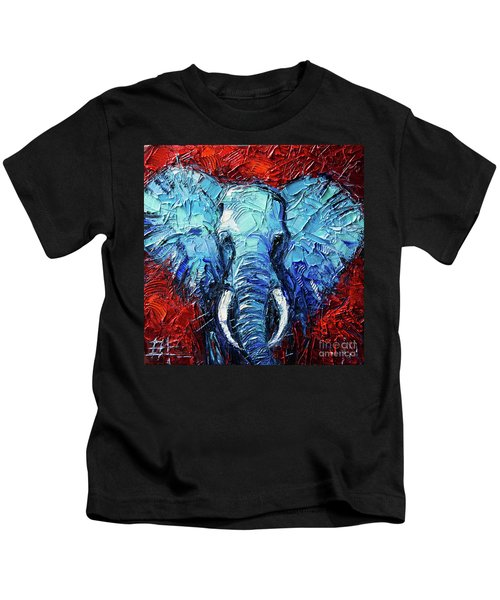 Blue Elephant Palette Knives Impasto Abstract Oil Painting Kids T-Shirt