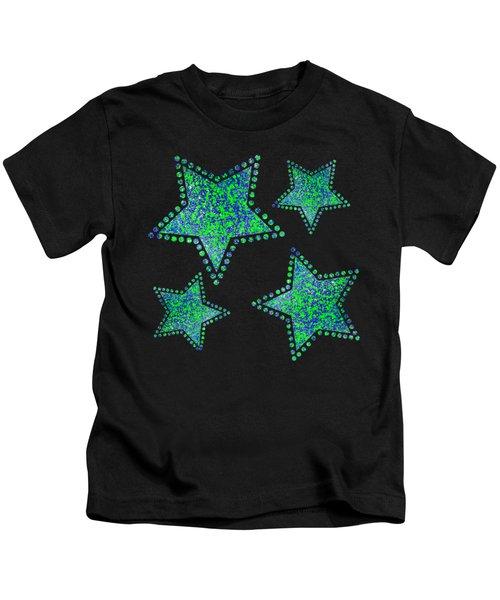 Blue Green Splatter Kids T-Shirt