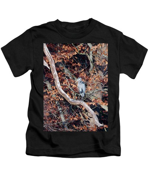 Blue Heron In Tree Kids T-Shirt