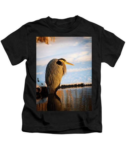 Blue Heron Resting Kids T-Shirt