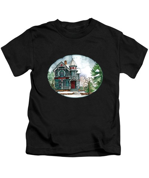 Blue House On A Grey Day Kids T-Shirt