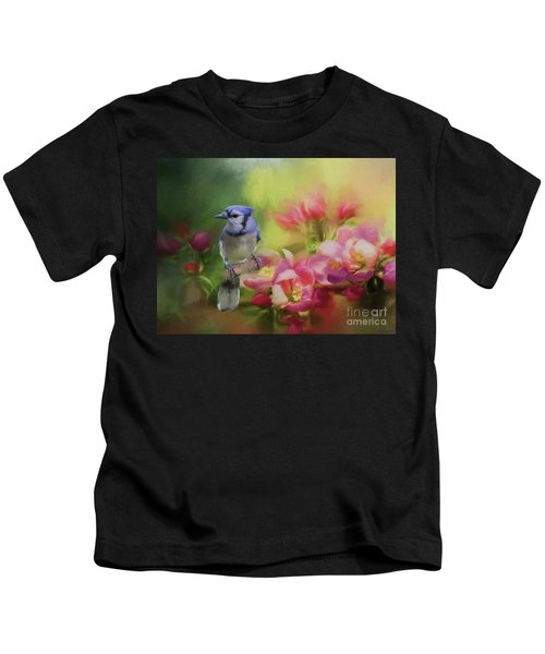 Blue Jay On A Blooming Tree Kids T-Shirt