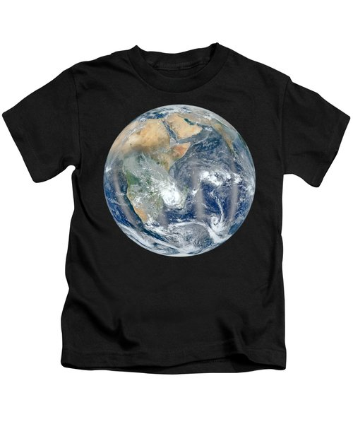 Blue Marble 2012 - Eastern Hemisphere Of Earth Kids T-Shirt by Nikki Marie Smith