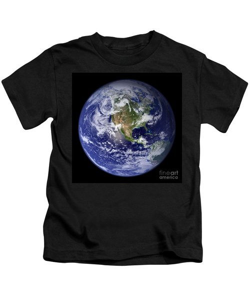 Blue Marble Earth, North America Kids T-Shirt