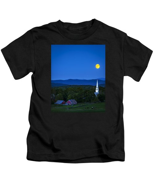 Blue Moon Rising Over Church Steeple Kids T-Shirt