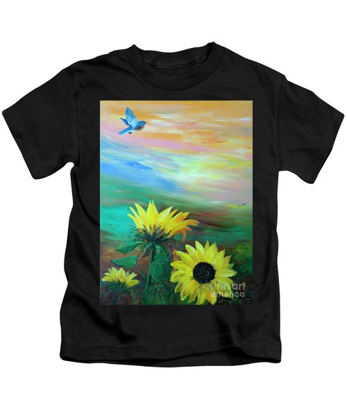 Bluebird Flying Over Sunflowers Kids T-Shirt