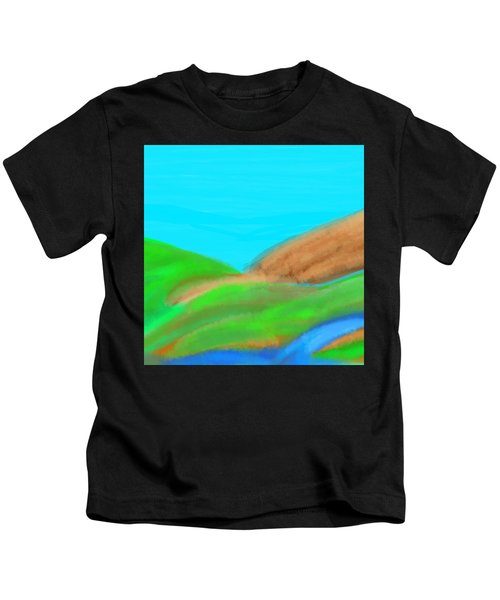 Blues And Browns On Greens Kids T-Shirt