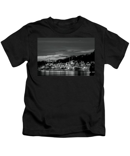 Boathouse Row Philadelphia Pa Night Black And White Kids T-Shirt