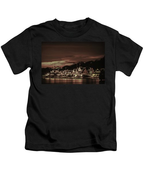Boathouse Row Philadelphia Pa Night Retro Kids T-Shirt