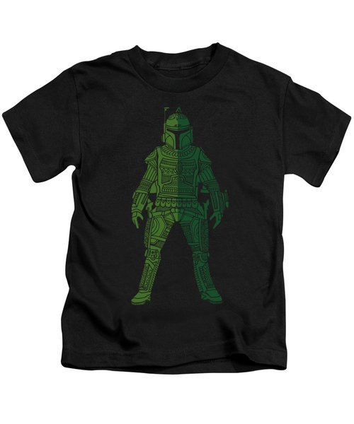 Boba Fett - Star Wars Art, Green 02 Kids T-Shirt