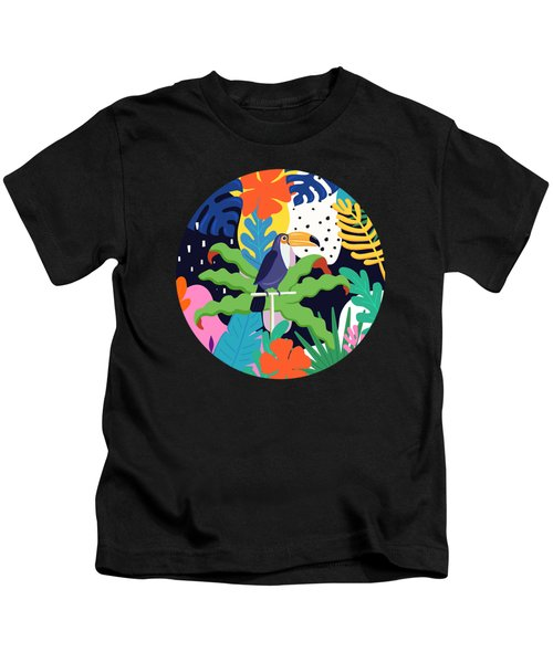 Bold Tropical Jungle Abstraction With Toucan Memphis Style Kids T-Shirt