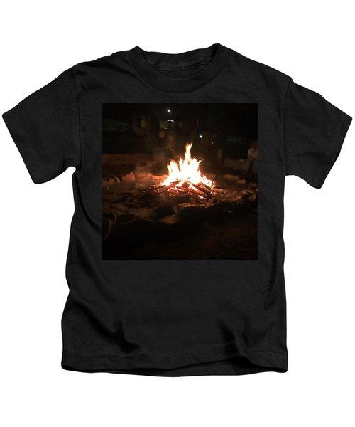Kids T-Shirt featuring the photograph Bonfire by Chris Montcalmo