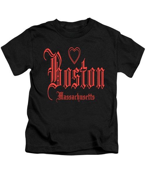 Boston Massachusetts Heart Design Kids T-Shirt