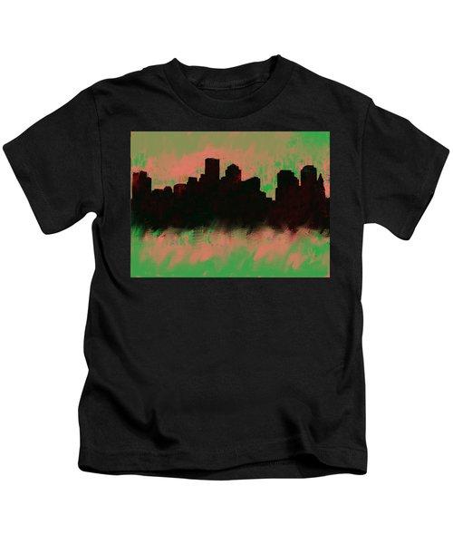 Boston Skyline Green  Kids T-Shirt by Enki Art