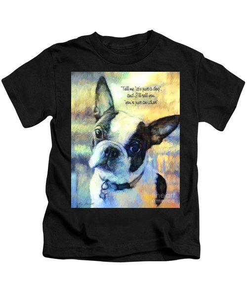 Boston Terrier Idiot Kids T-Shirt