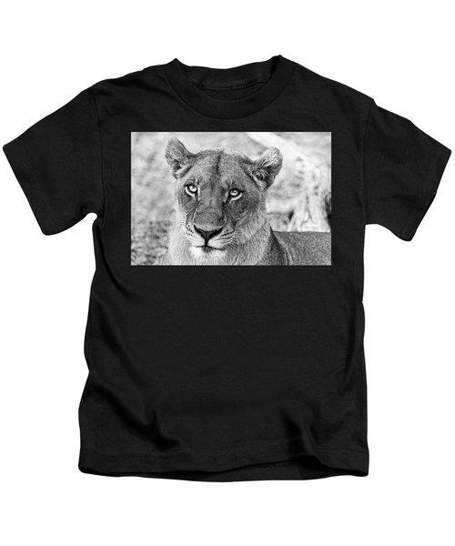 Botswana  Lioness In Black And White Kids T-Shirt