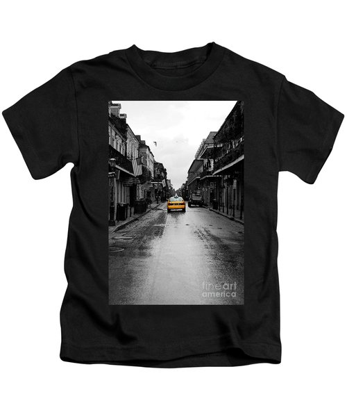 Bourbon Street Taxi French Quarter New Orleans Color Splash Black And White Watercolor Digital Art Kids T-Shirt