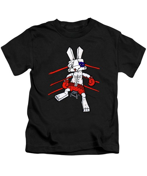 Boxer Bunny Kids T-Shirt by Bizarre Bunny