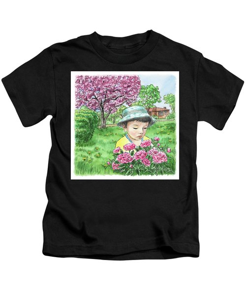 Boy In The Spring Garden Kids T-Shirt