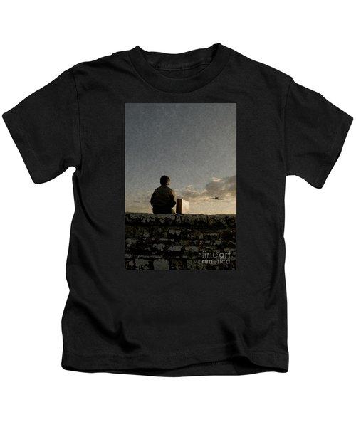 Boy On Wall Kids T-Shirt