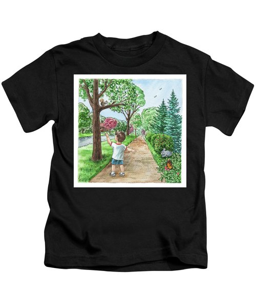 Boy Squirrel Bunny And Butterfly Kids T-Shirt