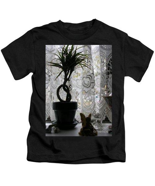 Braided Dracena On Sill Kids T-Shirt