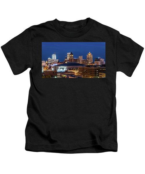 Brew City At Dusk Kids T-Shirt