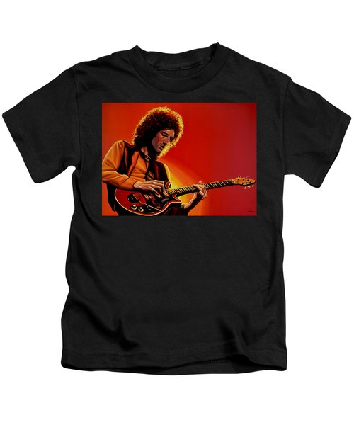 Brian May Of Queen Painting Kids T-Shirt by Paul Meijering