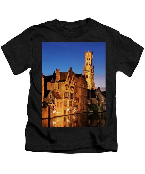 Bruges Belfry At Night Kids T-Shirt