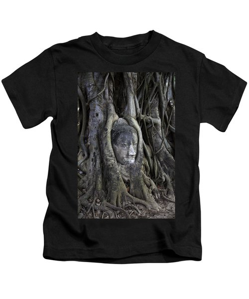 Buddha Head In Tree Kids T-Shirt